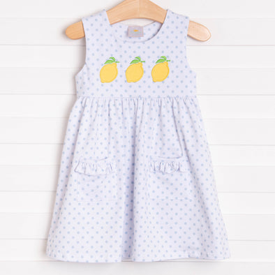 Lucky Lemons Applique Dress, Blue Dot