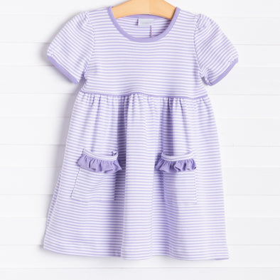 Squiggles Isabella Dress, Lilac Stripe