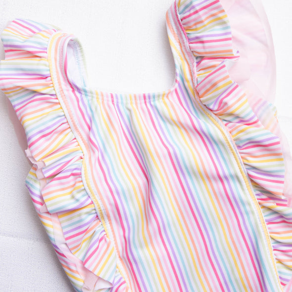 Ruffle Butts Rainbow Stripe Waterfall One Piece, Pink