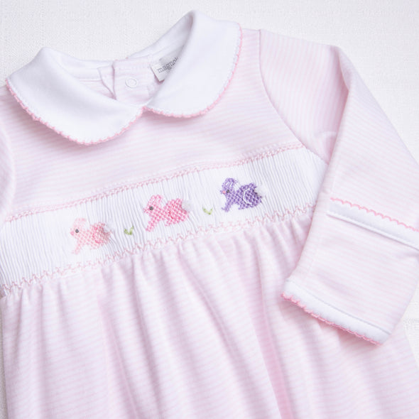 Magnolia Baby Easter Bunny Classics Smocked Gathered Gown