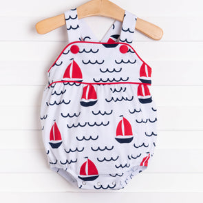 Sailing Into Summer Boy Sunsuit, Red