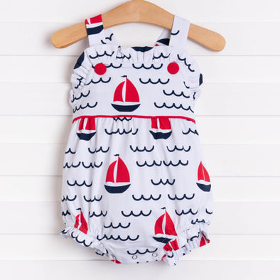 Sailing Into Summer Girl Sunsuit, Red
