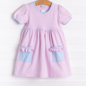 Squiggles Isabella Dress, Pink Stripes