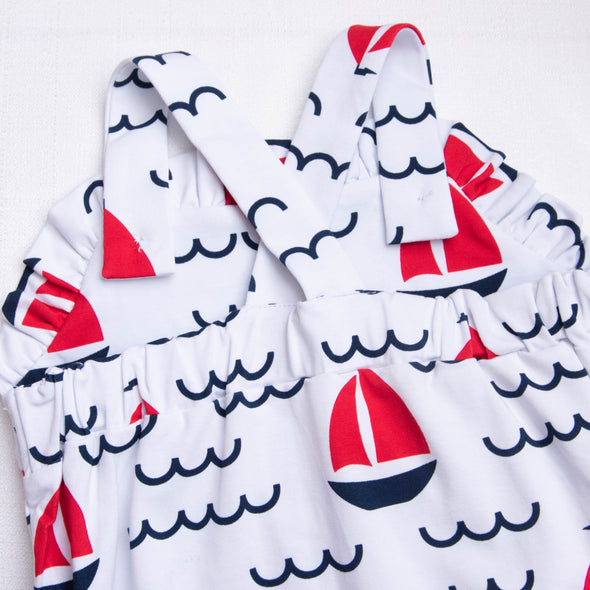Sailing Into Summer Ruffle Sunsuit