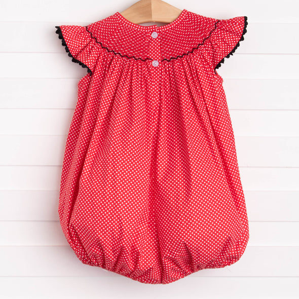 Miss Mouse Smocked Ruffle Bubble, Red