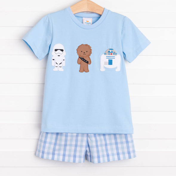 Galactic Friends Applique Short Set, Blue