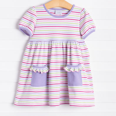 Squiggles Isabella Dress, Rainbow Stripe