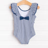 Ruffle Butts Navy Stripe Waterfall One Piece, Navy