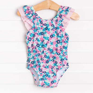 Ruffle Butts Water Lilies Ruffle V-Back One Piece, Pink