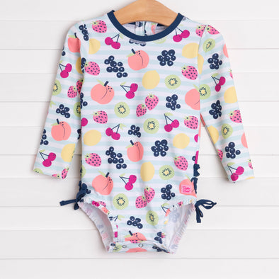 Ruffle Butts Fruit Fiesta Rash Guard One Piece, Navy