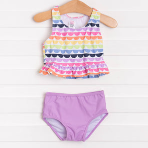 Ruffle Butts Rainbow Scallop Peplum Tankini, Purple