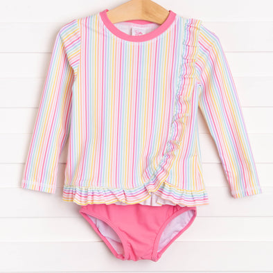 Ruffle Butts Rainbow Stripe Long Sleeve Rash Guard Bikini, Pink