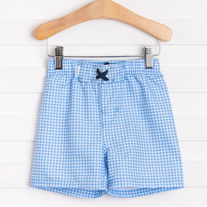 Rugged Butts Cornflower Blue Gingham Swim Trunks, Blue