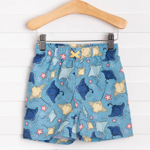 Rugged Butts Starfish & Stingrays Swim Trunks, Blue