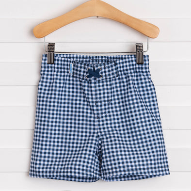 Rugged Butts Navy Gingham Swim Trunks, Navy