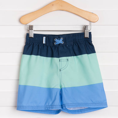 Rugged Butts Mint & Blue Color Block Swim Trunks, Blue