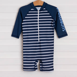 Rugged Butts Navy Stripe Rash Guard Bodysuit, Navy