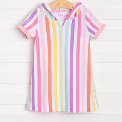 Ruffle Butts Rainbow Stripe Ruffle Terry Cover-Up, Pink