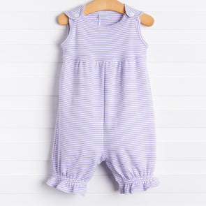 Squiggles Addison Romper, Lilac Stripe