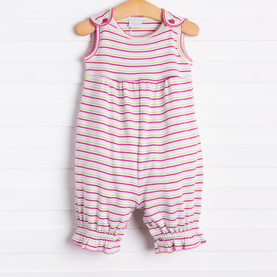 Squiggles Addison Romper, Pink/Lime