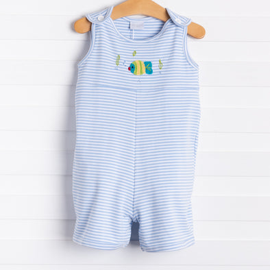 Squiggles Fishy Romper, Blue