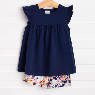 Flower Child Ruffle Short Set, Navy