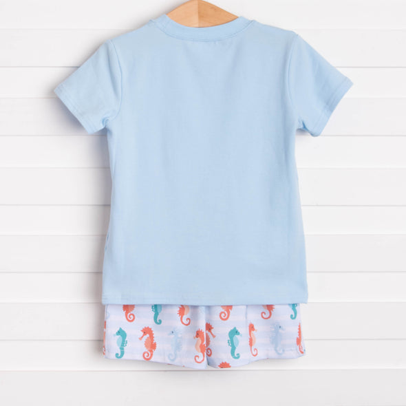 Seahorsin' Around Short Set, Blue
