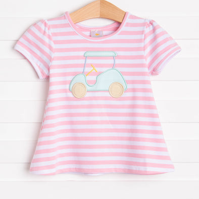 Hooray Fore Summer Applique Shirt, Pink Stripe