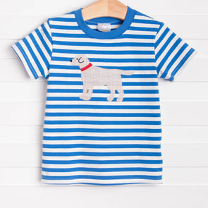 Top Dog Applique Shirt, Blue Stripe