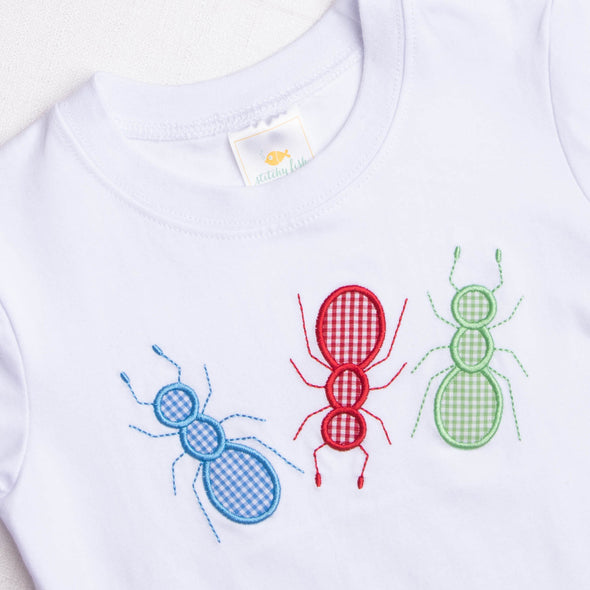 Ants Marching Applique Shirt, White