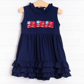 Old Glory Applique Dress, Navy