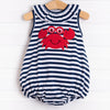 Cute and Crabby Applique Bubble, Navy Stripe