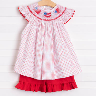 Salute The Flag Smocked Ruffle Short Set