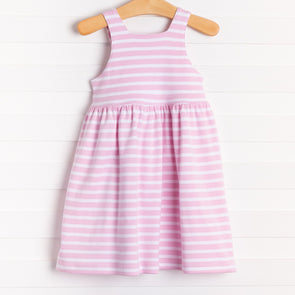 Squiggles Nora Dress, Pink Stripe