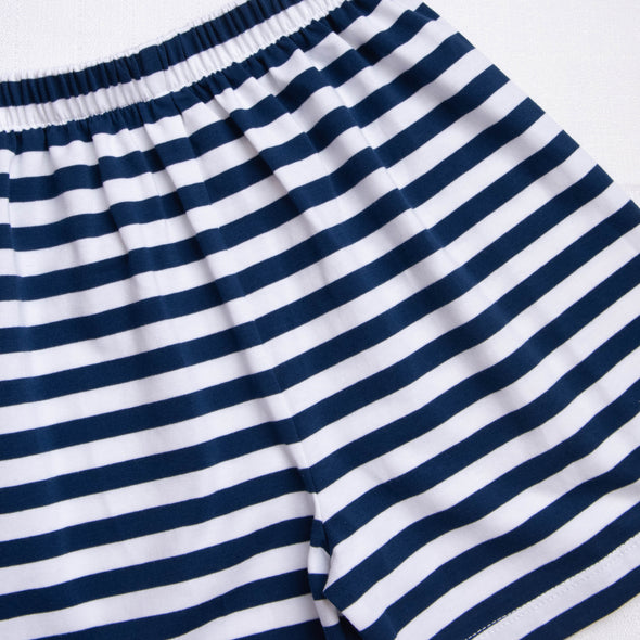 Cute and Crabby Applique Short Set, Navy Stripe