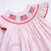 Salute The Flag Smocked Short Set, Red