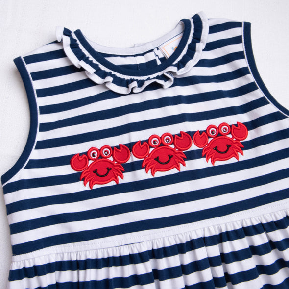 Cute and Crabby Applique Striped Dress