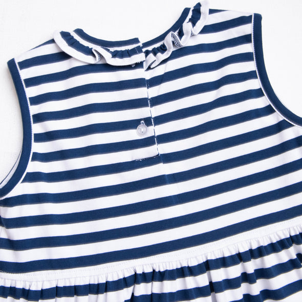 Cute and Crabby Applique Dress, Navy Stripe