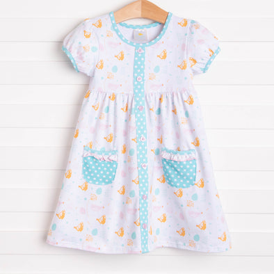 Happy Hens Dress, Aqua