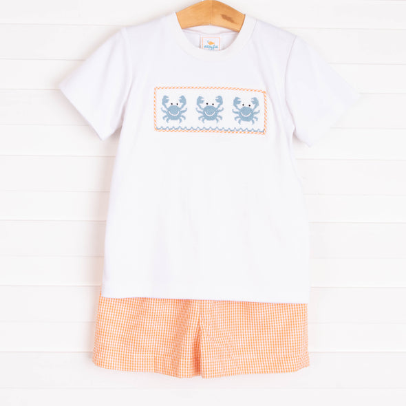 Pinchy Pal Smocked Short Set, Orange Gingham
