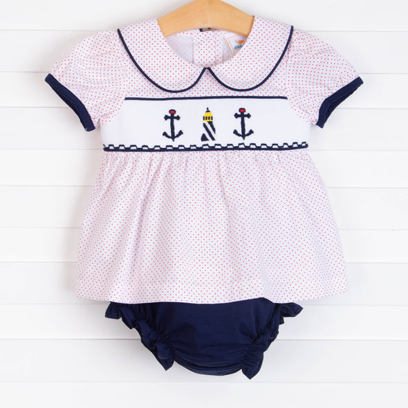 Shine At Sea Smocked Diaper Set, Navy