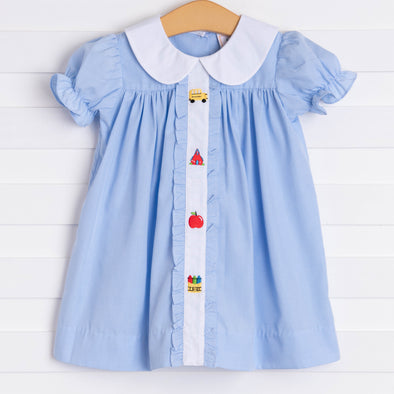 My First Day Embroidered Dress, Blue