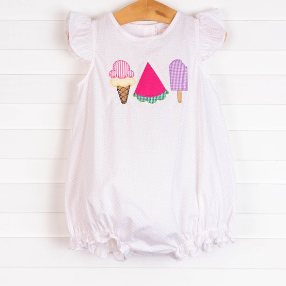 Peace, Love, and Popsicles Ruffle Applique Bubble, Pink Bitty Dot