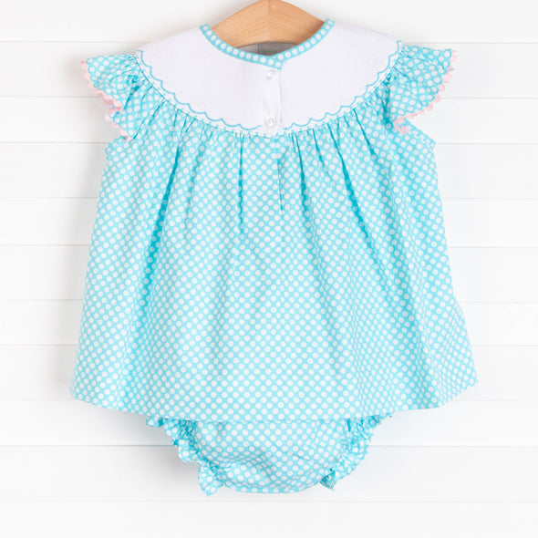 Sail in Style Smocked Diaper Set, Aqua