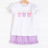 Pail Pals Applique Ruffle Short Set, Purple Gingham