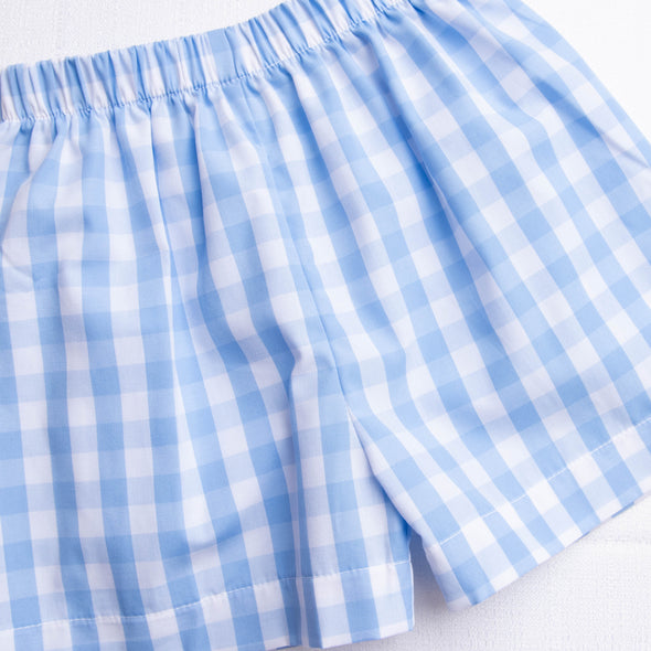 My First Day Smocked Shorts Set, Blue Check