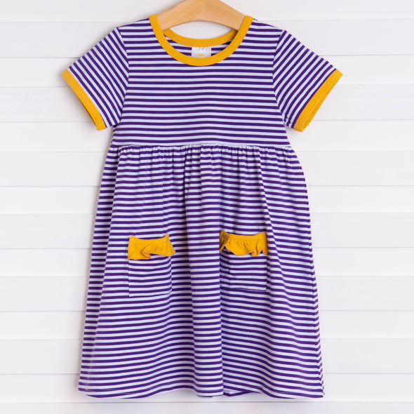Louisiana Popover Dress, Purple