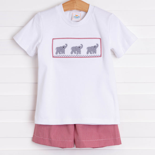 Elephant Smocked Short Set, Crimson