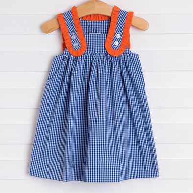 Charlotte Dress, Navy and Orange