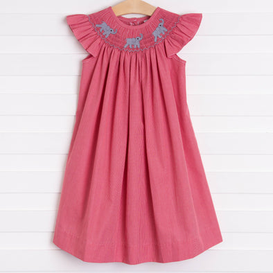 Elephant Smocked Dress, Crimson